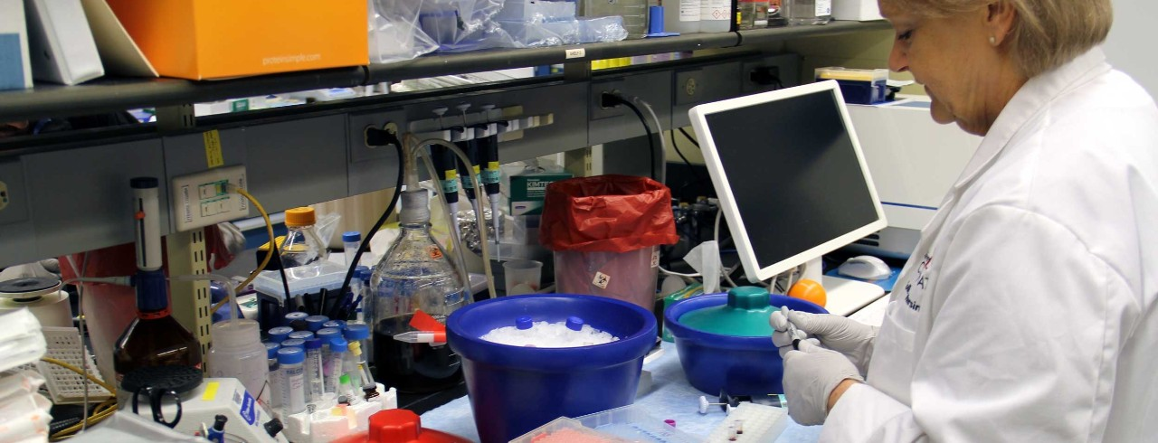 UC Researcher Mary Risinger in Kettering Lab on the Medical Campus